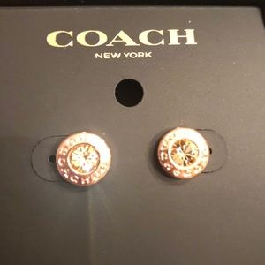 Coach Jewelry - COACH Earrings Rose Gold Champagne Crystal